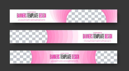 Template of vector horizontal web banners with semicircular step elements and place for photo. Pink color design for business and advertising. Set Ilustrace