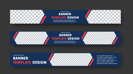 Design of blue horizontal web banners with with red elements and place for photo and text. Templates for websites, advertising. Vector illustration.