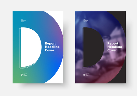 Set of vector covers for report, poster, flyer with the letter D, place for photo and soft gradient. Universal design templates for business A4  A3  A5