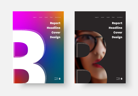 Design of vector black and white covers of the report, poster, flyer with the silhouette of the letter B, a place for a photo and a soft purple gradient. Universal templates for business A4  A3  A5
