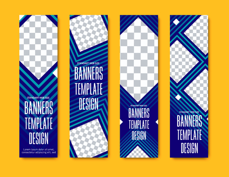 Design of vertical vector web banners with squares and rhombuses for photo. Templates are standard size blue. Ilustrace