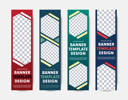 Design of vertical vector web banners with different geometrical shapes for photos. Standard size templates for advertising.