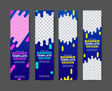 Vector vertical web template for violet-blue banners with abstract shapes for photos and text. A set of designs for the site of a standard size.