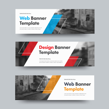 Template of vector horizontal web banners with diagonal color design elements and space for photo. A set of standard size for business and advertising. Ilustrace