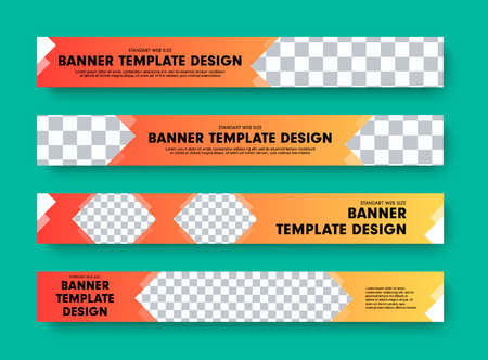 Template of horizontal vector web banners with arrows and place for photo. Orange color design for advertising and business. Ilustrace
