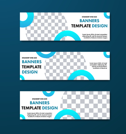 Vector white horizontal banner design with round elements for photo. Standard size templates for business and advertising.