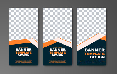 Template vector vertical web banners with place for photo and orange ribbon. Design in black and standard size Ilustrace