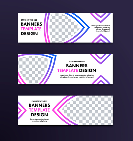 Set of vector white banners with place for photo and violet design elements. The template is a standard size for web sites.