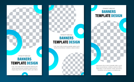 Vector vertical web banner templates with round elements for photo. White standard size design for business and advertising.