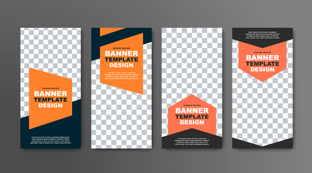Design of vector vertical banners in black with a place for a photo and orange geometric elements for text. Web templates are standard size. Ilustrace