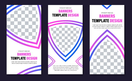 set of vertical web banners of white color with space for photo and stroke with gradient. Design templates of standard size.