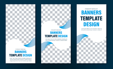 Design of vertical white web banners with wavy blue lines and space for photo. A set of templates of standard size.