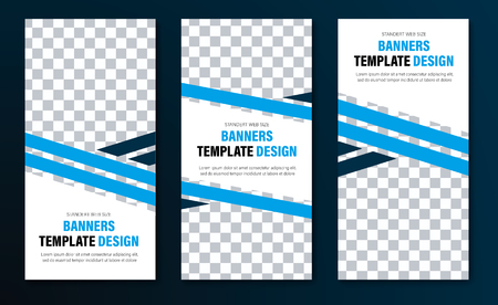 Templates for vertical web banners with blue diagonal intersecting lines and space for a photo. White design in standard size. Vector illustration