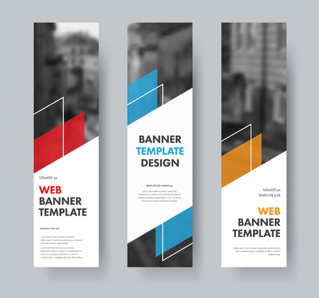 Templates for vertical web banners with diagonal elements for text, color design elements, lines and space for photos. A set of standard size. Vector illustration. Ilustrace
