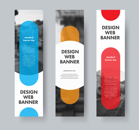 Design of vector web banners with color design elements and a semicircle for photo and text. Vector templates are standard size.