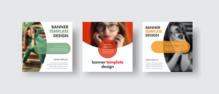 Set of square web banners with a semicircle for a photo and round elements for text. Template for social media in white. Vector illustration. Ilustrace