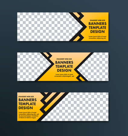 Design of horizontal web banners of yellow color with black stroke and place for photo. Standard size templates.