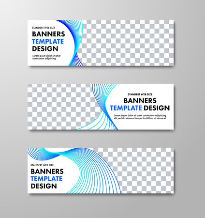 Design of horizontal white vector banners with place for photo and spirally twisted blue lines. Web site templates.