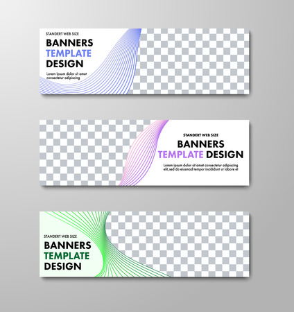 Templates of horizontal white vector web banners with place for photo and color swirling and wavy lines. Design standard size. Set