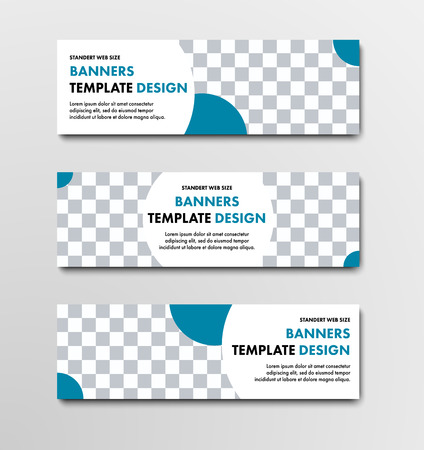 Set of vector web banners with place for photo and round blue elements. Design templates of standard size.