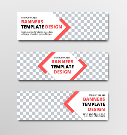 Set of horizontal white vector web banners with diagonal elements and orange lines and place for photo. Design templates of standard size. Ilustrace