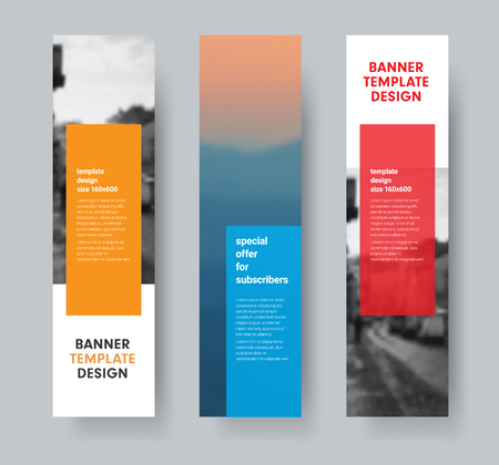 Template of vertical vector banners with transparent colored dice for text and place for photo. Set of designs for web sites. Ilustrace