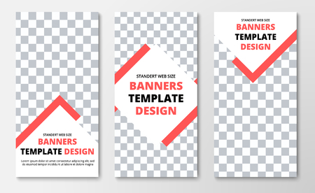 Template of vertical web banners with arrow and rhombus and place for photo. Flyer design for business and advertising. Vector illustration.