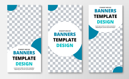 Design of vertical vector web banners with round white and blue elements, place for photo. Standard size templates for advertising and business. Ilustrace