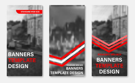 Design of vertical vector web banners with red and white ribbons and arrows, place for photo. Standard size templates for business and advertising.