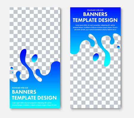 Template of vertical vector web banner with abstract blue shape and place for photo. Design for business and advertising. Ilustrace