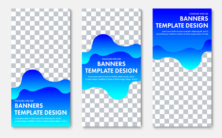 Design of vertical vector banner with abstract wavy blue shape and place for photo. Web template for business and advertising. Ilustrace
