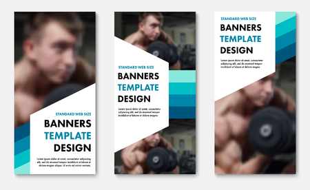 Set of vector web banners with color elements and white shapes for text. Universal Vertical templates for sports and business.