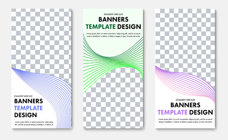 Design of vertical vector web banners with place for photo and abstract wave lines. The templates are standard size with blue, green and purple elements.