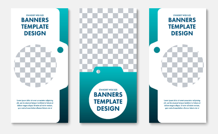 set of vertical vector banners with a place for photos in the shape of a photo camera. Templates for web standard size for advertising.