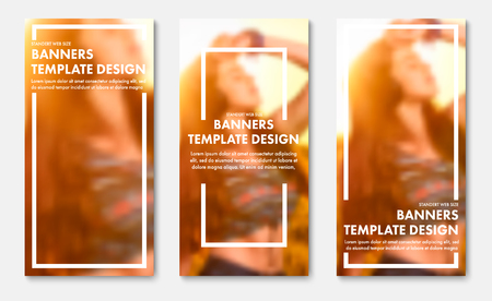 Template of vertical vector web banners with white frame and place for photo. Universal Design for advertising and business. Set