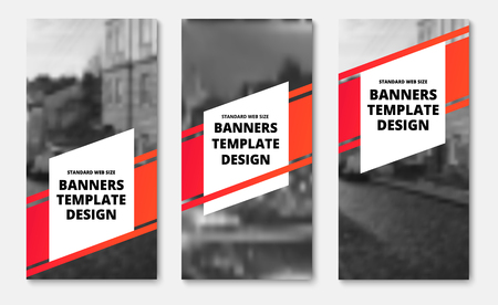 Template of vertical vector banners with a diagonal red stripe and white elements for text. Design for web. Set
