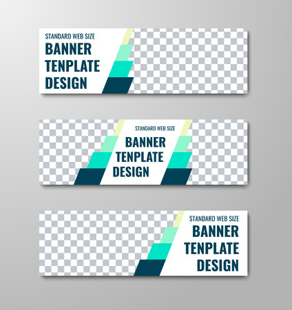 Set of vector horizontal white web banners with place for photo and blue elements. Template for business and advertising.