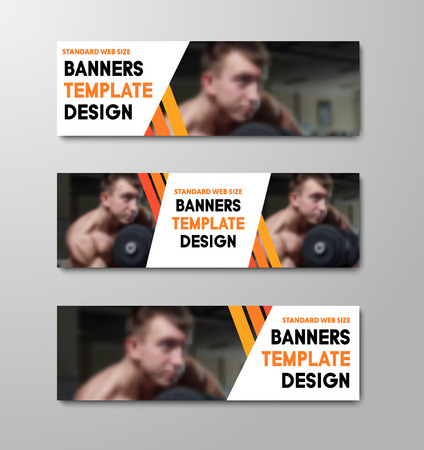 Set of vector horizontal web banners with place for photo and orange diagonal lines. Template for business and advertising standard size. Ilustrace