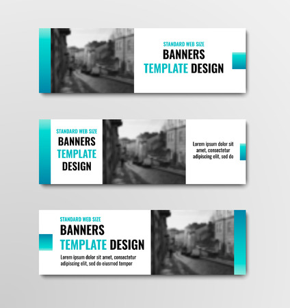 Design of horizontal white banners with blue elements and space for photo. Templates for web standard size. Vector illustration. Set