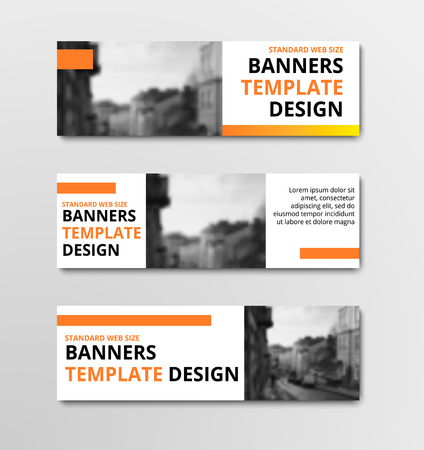 Templates of horizontal vector white banners with orange elements and place for photo. Design for web standard size. Set
