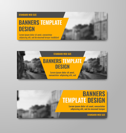 Templates of horizontal vector banners with diagonal orange elements and space for photos. Design for web standard size. Set