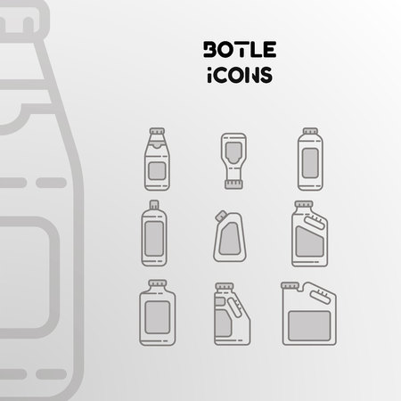 Design of vector linear icons of bottles, cans and packaging. Set of isolated objects.