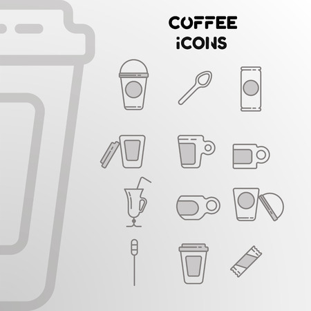 Design of linear icons on the coffee theme. A set of cups, spoons, glasses. Vector illustration Ilustrace
