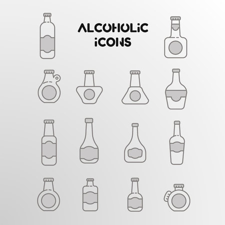 Set of vector linear icons of alcohol bottles! Patterns with stroke and label. Illusztráció