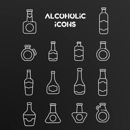 Set of white linear vector icons of alcoholic bottles. Illustration isolated on black background. Illustration