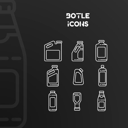 Design of white icons of bottles and cans with stroke. Vector illustration isolated on black background. Set