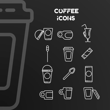 Set of vector white linear icons on the coffee theme. Signs are isolated on a black background. Ilustrace