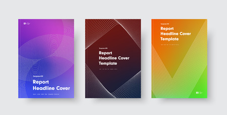 Design of modern vector covers with color gradients and abstract lines and shapes. Templates for annual reports, flyers, posters, catalogs and booklets. Set