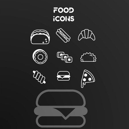 Set of vector white linear icons on the theme of food. Design signs isolated on black background.