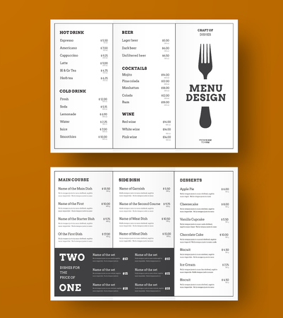 Design of the vector Trifold menu for a cafe or restaurant with black stroke and blocks for text. White print template. Ilustrace